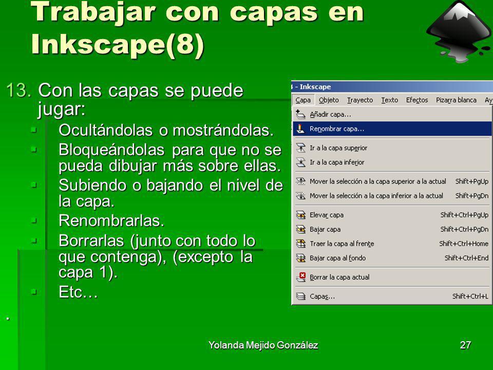 Yolanda Mejido González27 Trabajar con capas en Inkscape(8) 13.Con las capas se puede jugar: Ocultándolas o mostrándolas. Ocultándolas o mostrándolas.