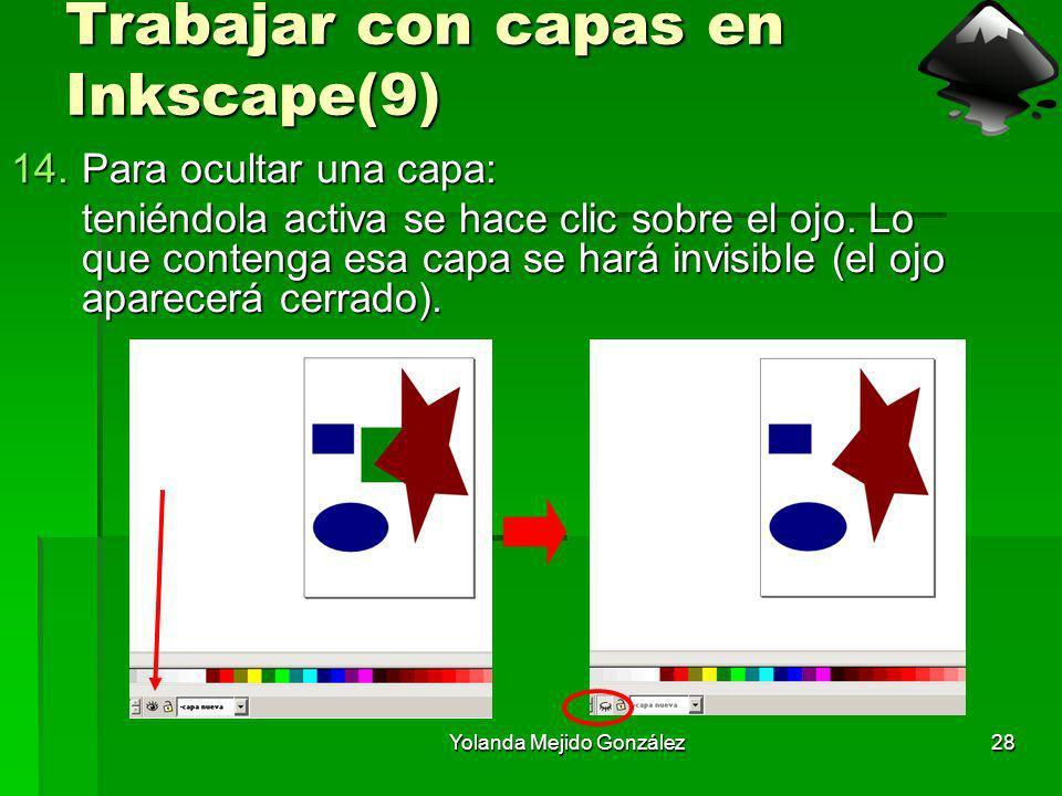 Yolanda Mejido González28 Trabajar con capas en Inkscape(9) 14.Para ocultar una capa: teniéndola activa se hace clic sobre el ojo. Lo que contenga esa