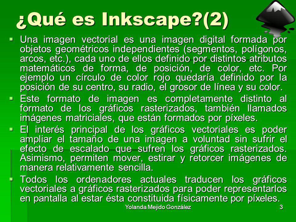 Yolanda Mejido González3 ¿Qué es Inkscape?(2) Una imagen vectorial es una imagen digital formada por objetos geométricos independientes (segmentos, po