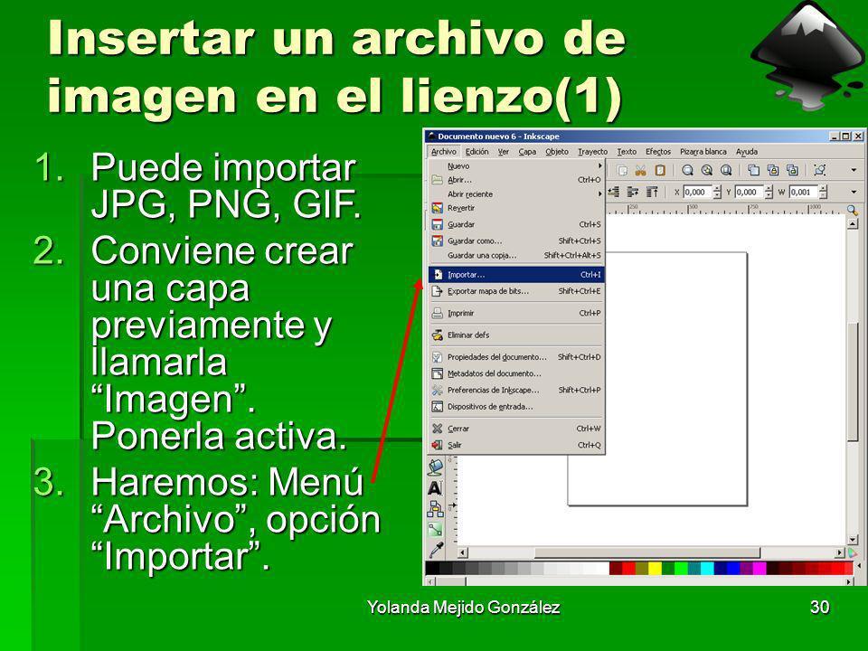 Yolanda Mejido González30 Insertar un archivo de imagen en el lienzo(1) 1.Puede importar JPG, PNG, GIF. 2.Conviene crear una capa previamente y llamar
