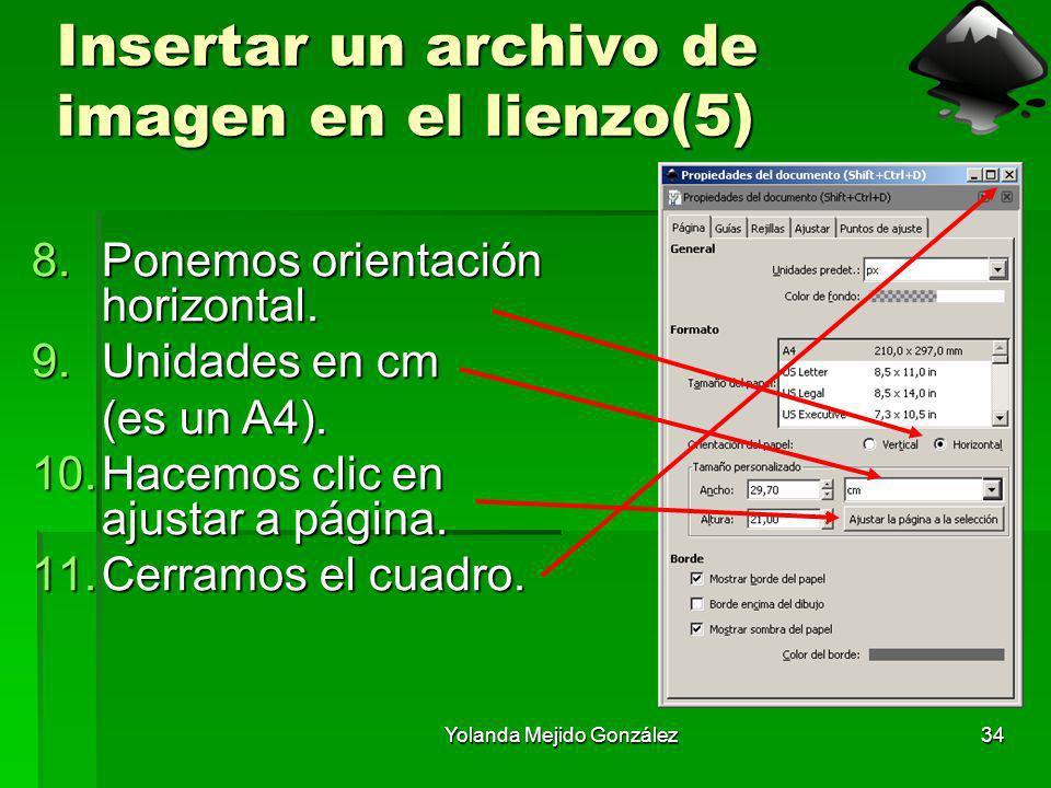 Yolanda Mejido González34 Insertar un archivo de imagen en el lienzo(5) 8.Ponemos orientación horizontal. 9.Unidades en cm (es un A4). 10.Hacemos clic
