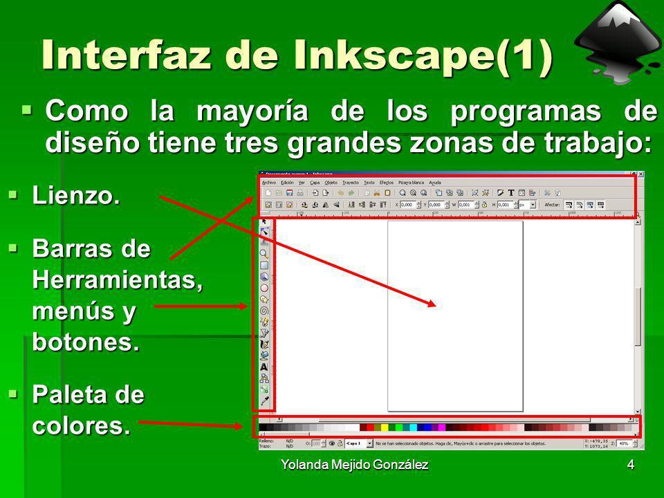 Yolanda Mejido González4 Interfaz de Inkscape(1) Como la mayoría de los programas de diseño tiene tres grandes zonas de trabajo: Como la mayoría de lo