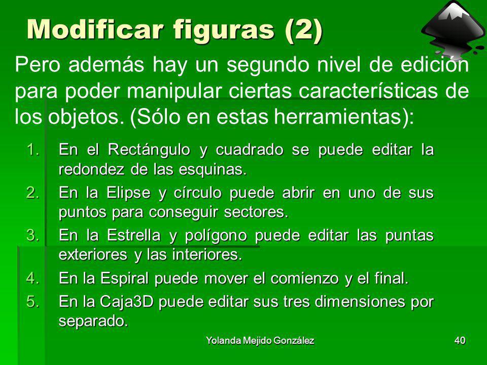 Yolanda Mejido González40 Modificar figuras (2) 1.En el Rectángulo y cuadrado se puede editar la redondez de las esquinas. 2.En la Elipse y círculo pu