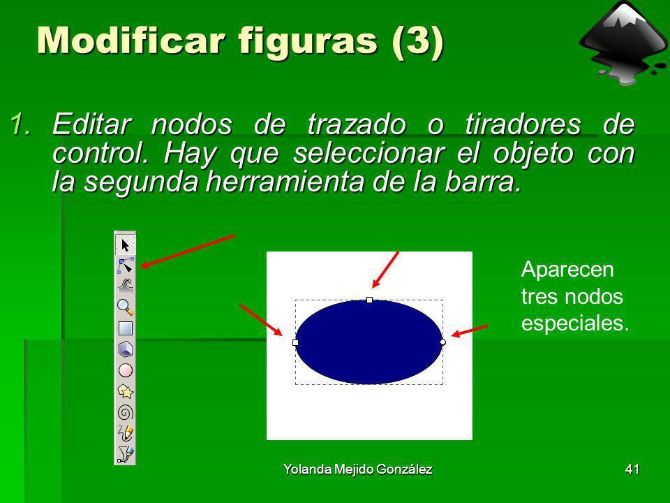 Yolanda Mejido González41 Modificar figuras (3) 1.Editar nodos de trazado o tiradores de control. Hay que seleccionar el objeto con la segunda herrami