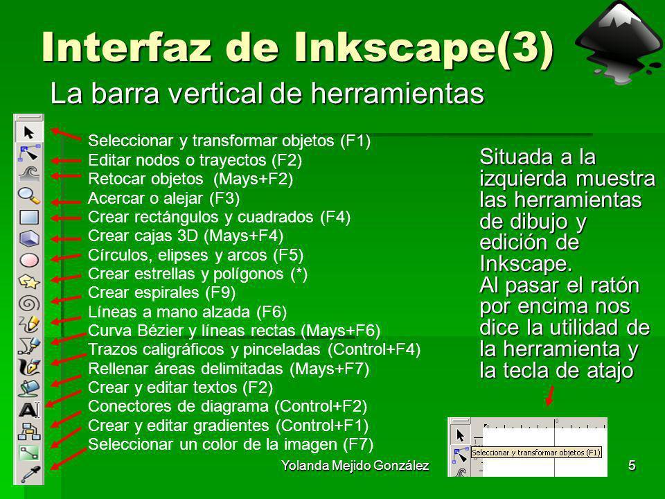 Yolanda Mejido González5 Interfaz de Inkscape(3) La barra vertical de herramientas Situada a la izquierda muestra las herramientas de dibujo y edición