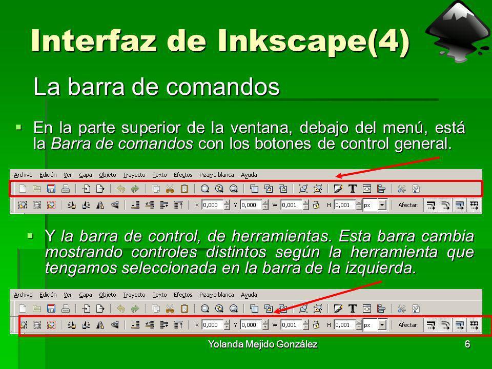 Yolanda Mejido González6 Interfaz de Inkscape(4) La barra de comandos En la parte superior de la ventana, debajo del menú, está la Barra de comandos c