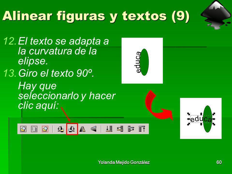 Yolanda Mejido González60 Alinear figuras y textos (9) 12.El texto se adapta a la curvatura de la elipse. 13.Giro el texto 90º. Hay que seleccionarlo