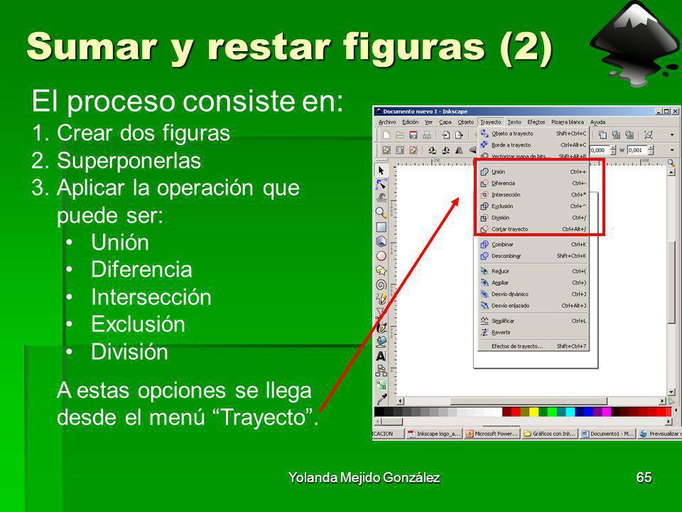 Yolanda Mejido González65 Sumar y restar figuras (2) El proceso consiste en: 1.Crear dos figuras 2.Superponerlas 3.Aplicar la operación que puede ser: