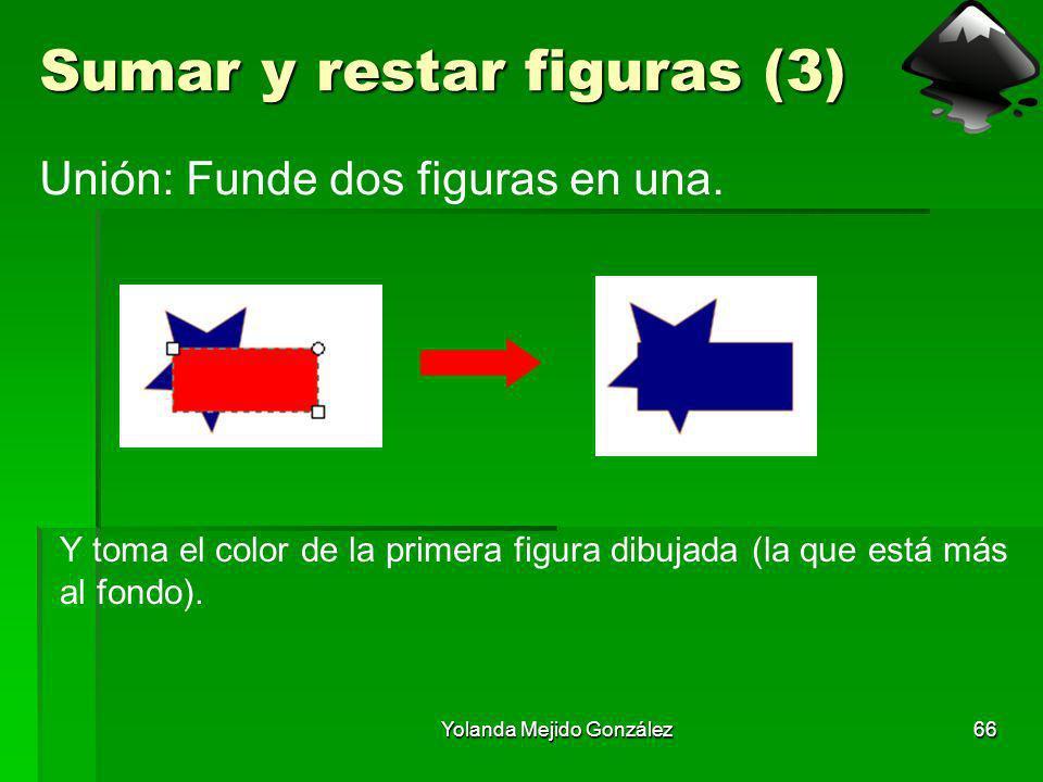 Yolanda Mejido González66 Sumar y restar figuras (3) Unión: Funde dos figuras en una. Y toma el color de la primera figura dibujada (la que está más a