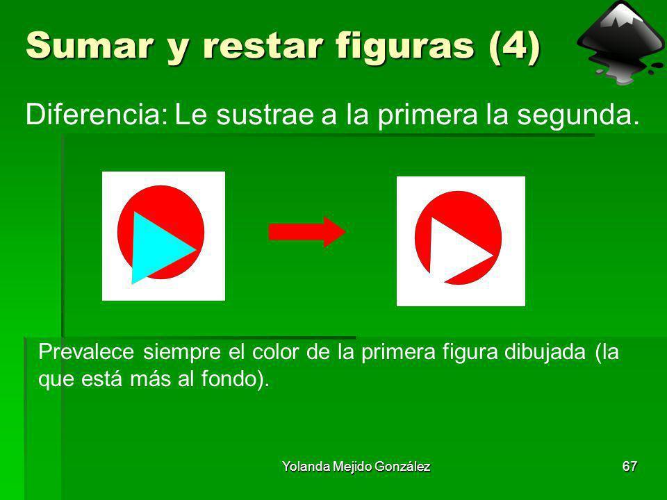Yolanda Mejido González67 Sumar y restar figuras (4) Diferencia: Le sustrae a la primera la segunda. Prevalece siempre el color de la primera figura d