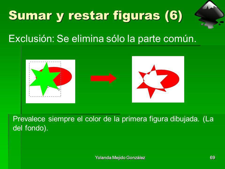 Yolanda Mejido González69 Sumar y restar figuras (6) Exclusión: Se elimina sólo la parte común. Prevalece siempre el color de la primera figura dibuja
