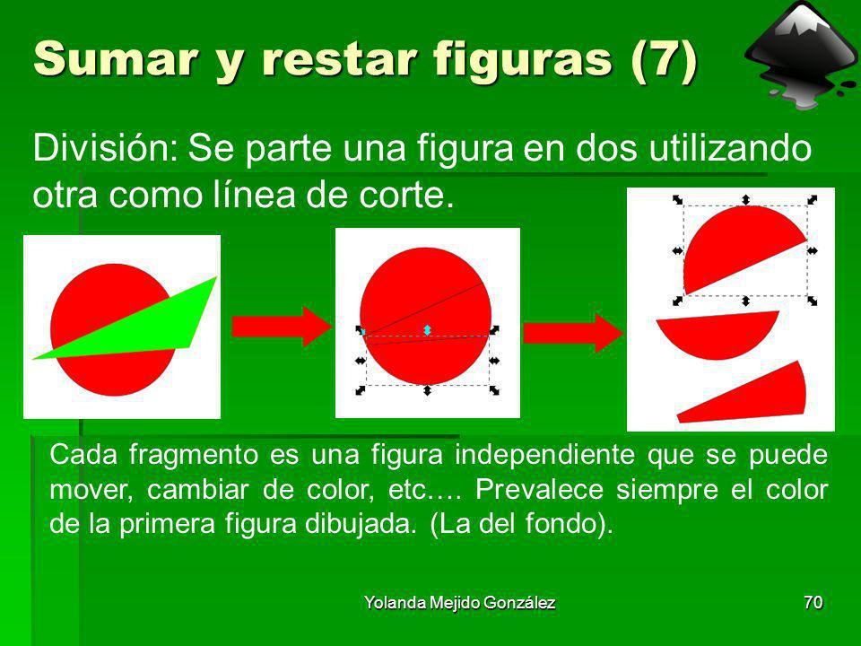 Yolanda Mejido González70 Sumar y restar figuras (7) División: Se parte una figura en dos utilizando otra como línea de corte. Cada fragmento es una f