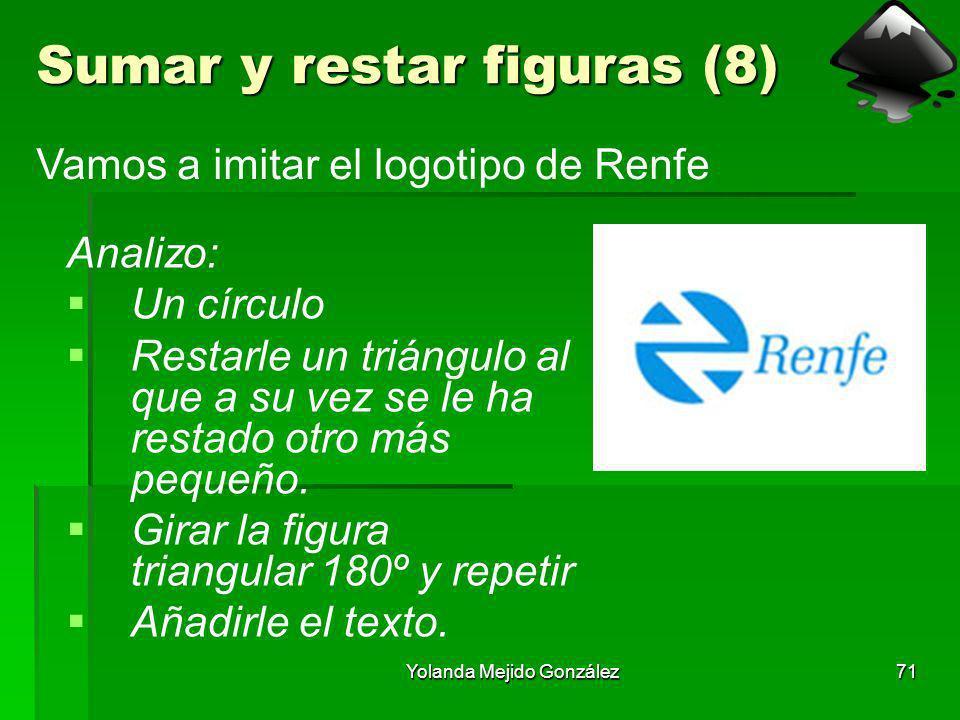 Yolanda Mejido González71 Sumar y restar figuras (8) Analizo: Un círculo Restarle un triángulo al que a su vez se le ha restado otro más pequeño. Gira