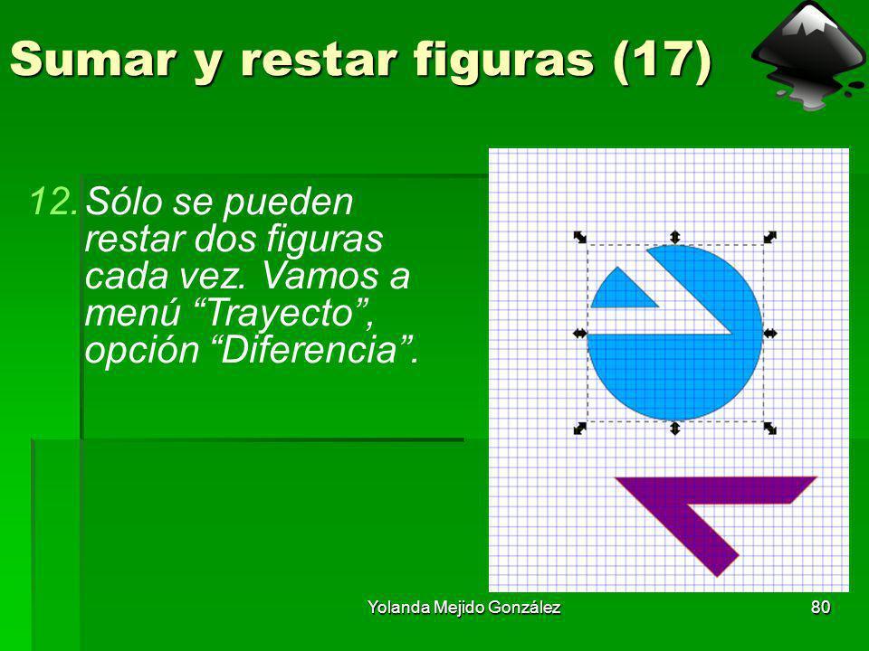 Yolanda Mejido González80 Sumar y restar figuras (17) 12.Sólo se pueden restar dos figuras cada vez. Vamos a menú Trayecto, opción Diferencia.