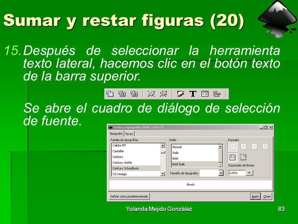Yolanda Mejido González83 Sumar y restar figuras (20) 15.Después de seleccionar la herramienta texto lateral, hacemos clic en el botón texto de la bar