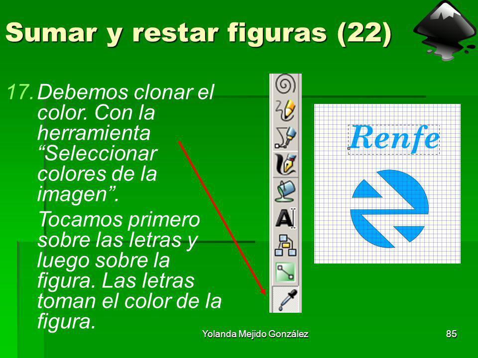 Yolanda Mejido González85 Sumar y restar figuras (22) 17.Debemos clonar el color. Con la herramienta Seleccionar colores de la imagen. Tocamos primero