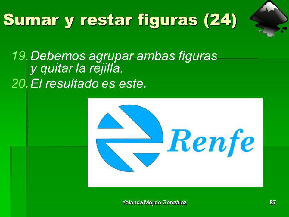 Yolanda Mejido González87 Sumar y restar figuras (24) 19.Debemos agrupar ambas figuras y quitar la rejilla. 20.El resultado es este.
