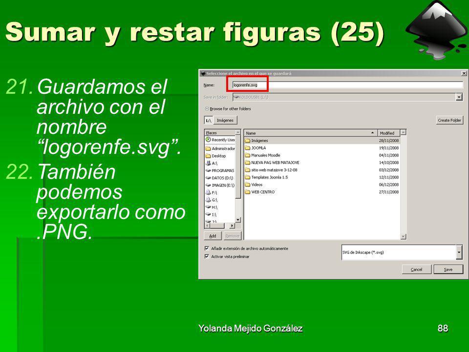 Yolanda Mejido González88 Sumar y restar figuras (25) 21.Guardamos el archivo con el nombre logorenfe.svg. 22.También podemos exportarlo como.PNG.