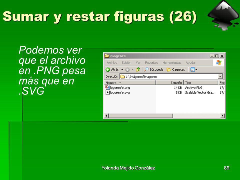 Yolanda Mejido González89 Sumar y restar figuras (26) Podemos ver que el archivo en.PNG pesa más que en.SVG