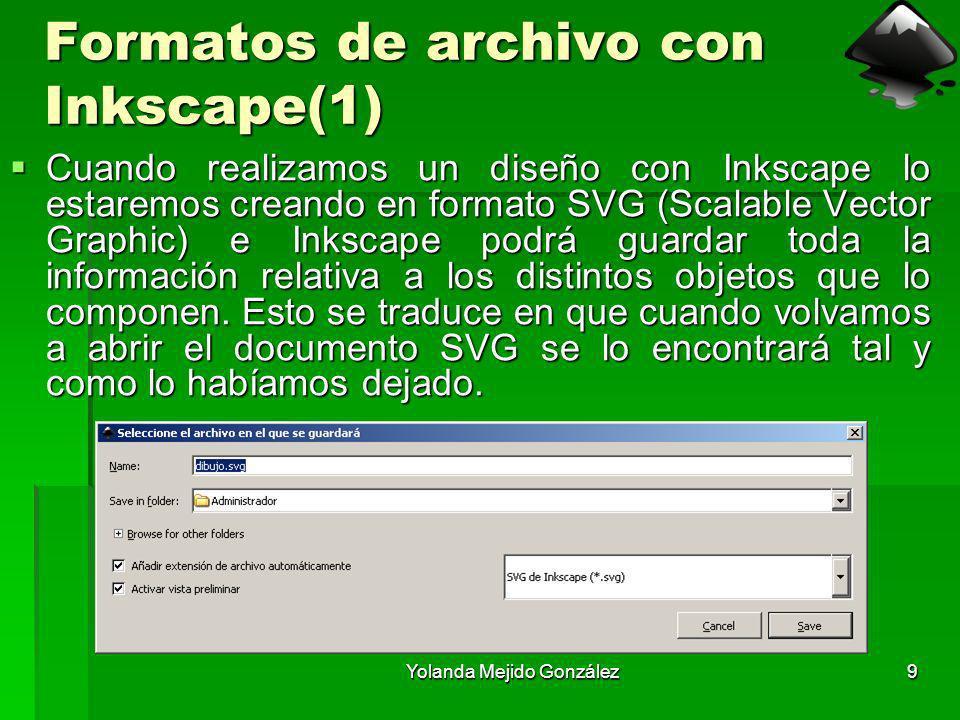Yolanda Mejido González9 Formatos de archivo con Inkscape(1) Cuando realizamos un diseño con Inkscape lo estaremos creando en formato SVG (Scalable Ve
