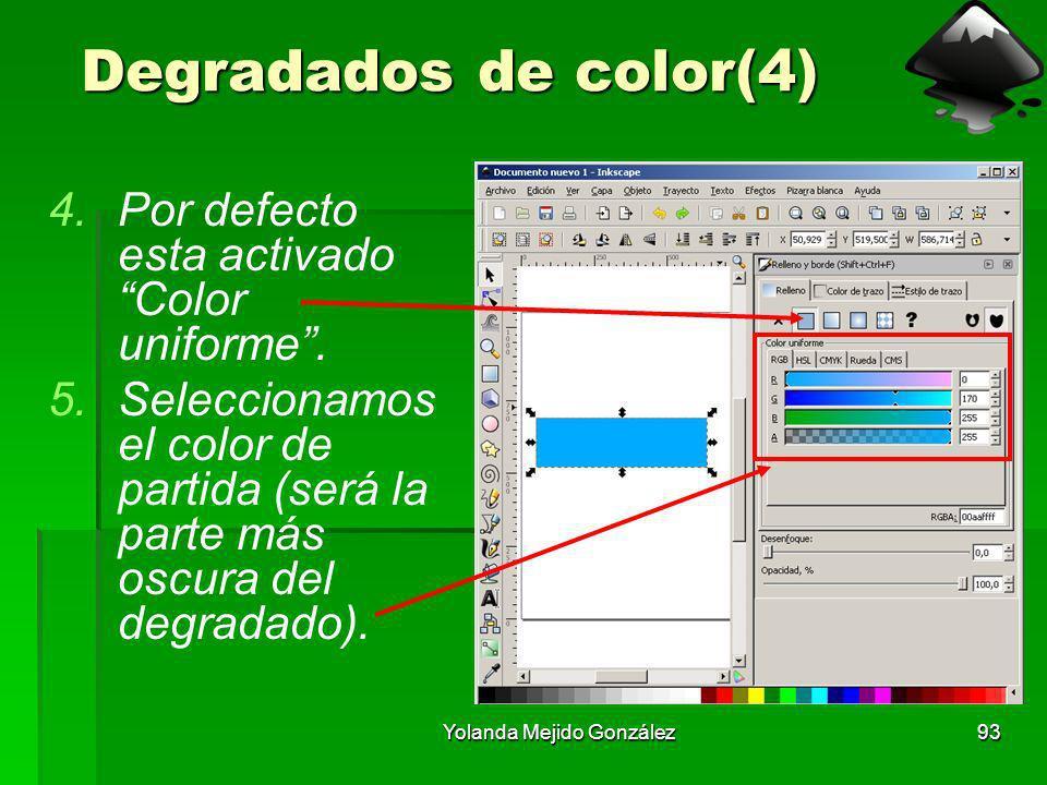 Yolanda Mejido González93 Degradados de color(4) 4.Por defecto esta activado Color uniforme. 5.Seleccionamos el color de partida (será la parte más os