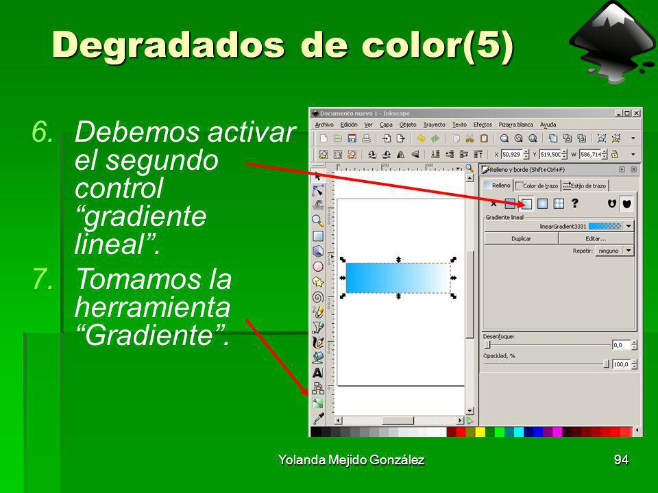 Yolanda Mejido González94 Degradados de color(5) 6.Debemos activar el segundo control gradiente lineal. 7.Tomamos la herramienta Gradiente.