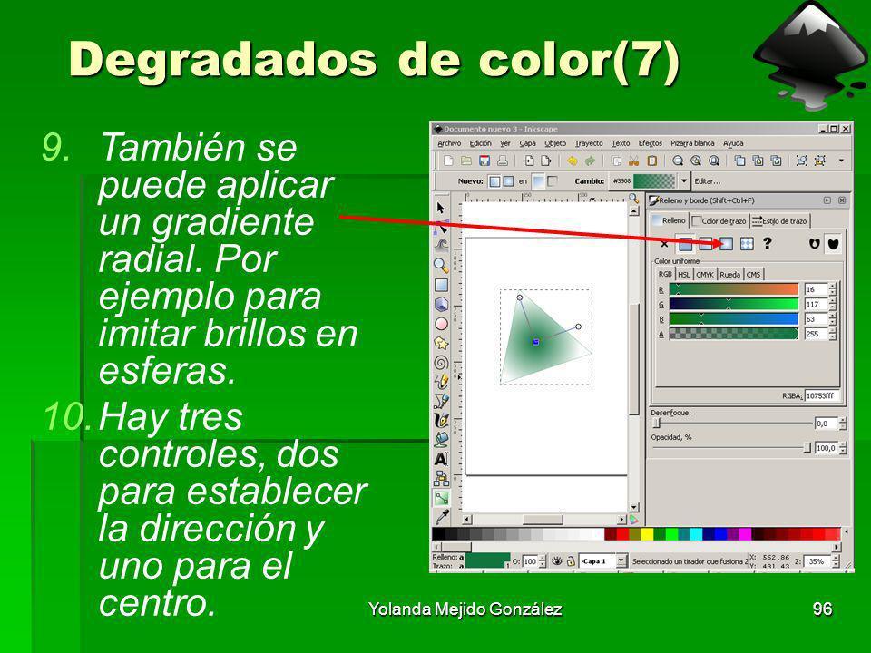 Yolanda Mejido González96 Degradados de color(7) 9.También se puede aplicar un gradiente radial. Por ejemplo para imitar brillos en esferas. 10.Hay tr