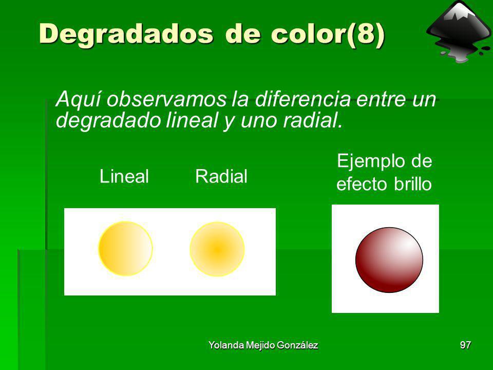 Yolanda Mejido González97 Degradados de color(8) Aquí observamos la diferencia entre un degradado lineal y uno radial. LinealRadial Ejemplo de efecto
