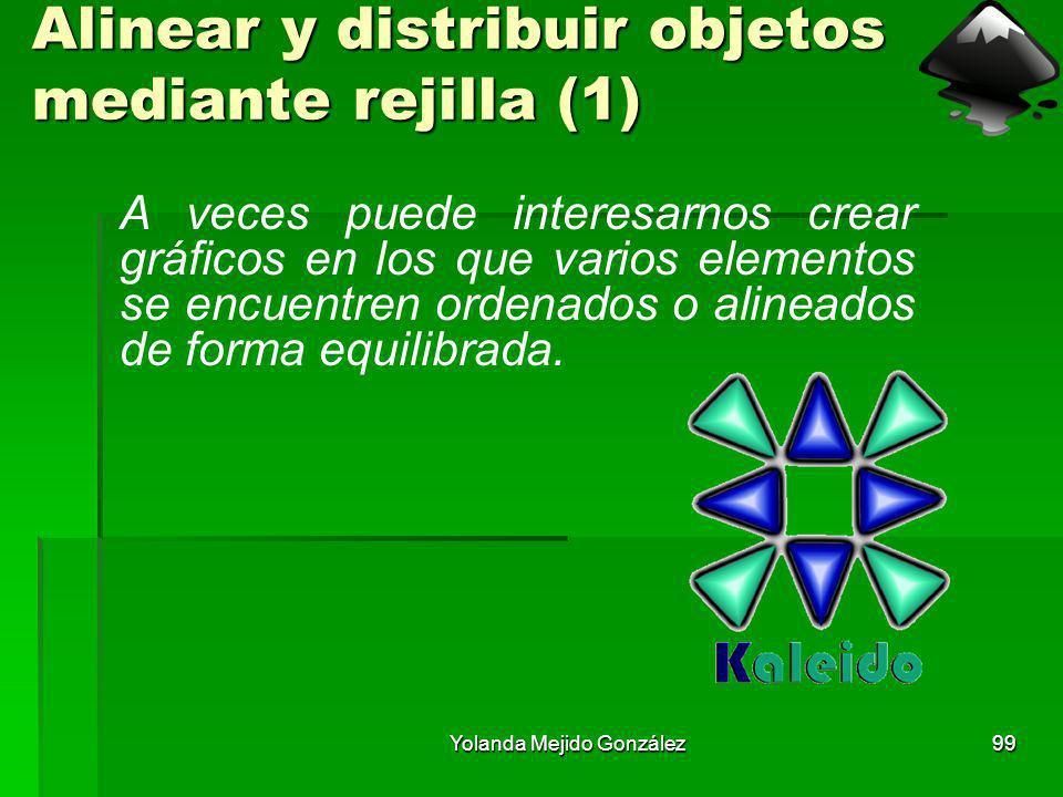 Yolanda Mejido González99 Alinear y distribuir objetos mediante rejilla (1) A veces puede interesarnos crear gráficos en los que varios elementos se e