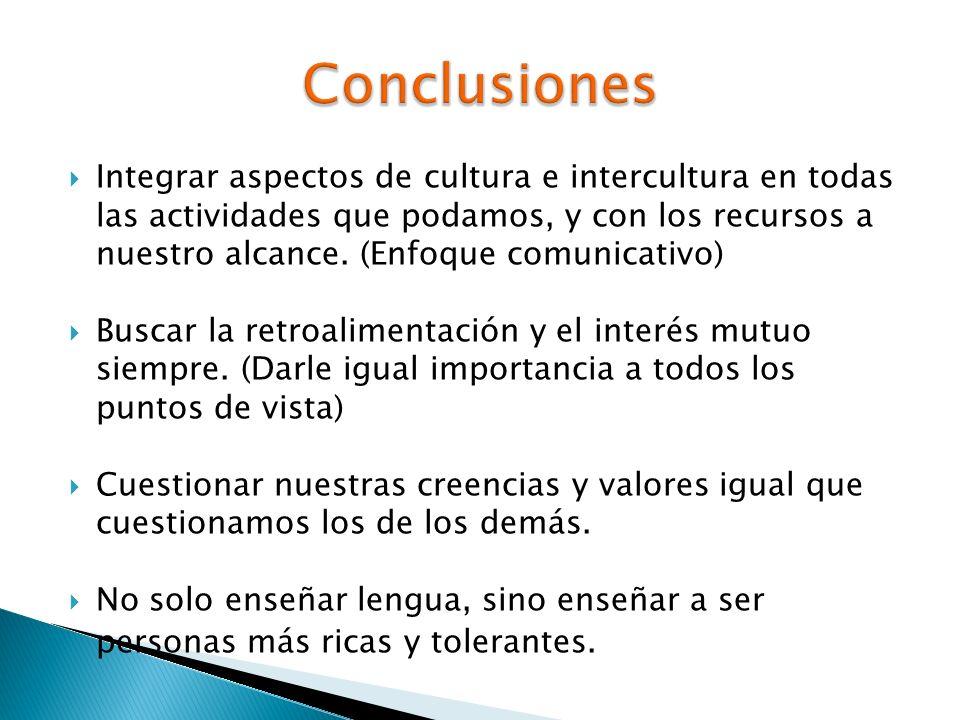 Integrar aspectos de cultura e intercultura en todas las actividades que podamos, y con los recursos a nuestro alcance. (Enfoque comunicativo) Buscar