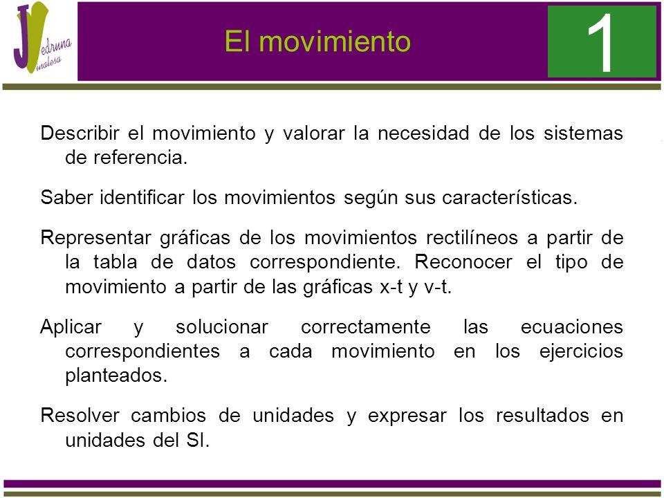 El movimiento Describir el movimiento y valorar la necesidad de los sistemas de referencia. Saber identificar los movimientos según sus característica