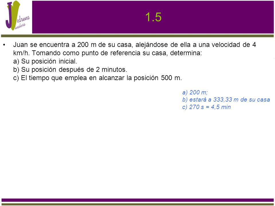 1.5 Juan se encuentra a 200 m de su casa, alejándose de ella a una velocidad de 4 km/h. Tomando como punto de referencia su casa, determina: a) Su pos