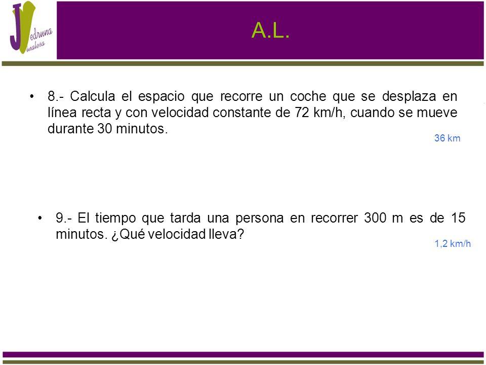 A.L. 8.- Calcula el espacio que recorre un coche que se desplaza en línea recta y con velocidad constante de 72 km/h, cuando se mueve durante 30 minut