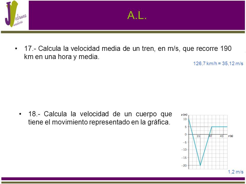 A.L. 17.- Calcula la velocidad media de un tren, en m/s, que recorre 190 km en una hora y media. 126,7 km/h = 35,12 m/s 18.- Calcula la velocidad de u