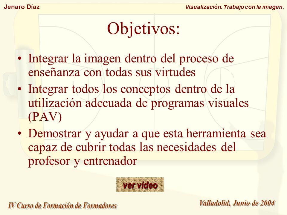 Jenaro Díaz Visualización. Trabajo con la imagen. Objetivos: Integrar la imagen dentro del proceso de enseñanza con todas sus virtudes Integrar todos