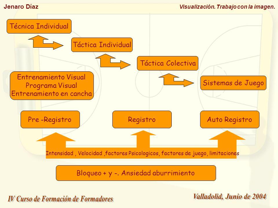 Jenaro Díaz Visualización. Trabajo con la imagen. Técnica Individual Táctica Individual Táctica Colectiva Sistemas de Juego Pre -RegistroRegistroAuto