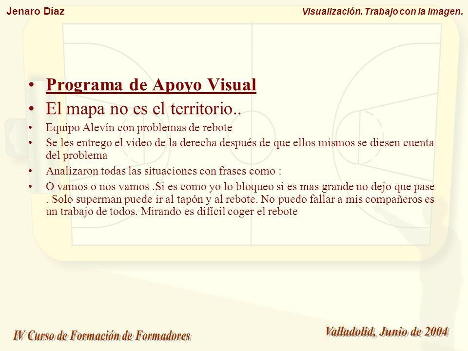 Jenaro Díaz Visualización. Trabajo con la imagen. Programa de Apoyo Visual El mapa no es el territorio.. Equipo Alevín con problemas de rebote Se les