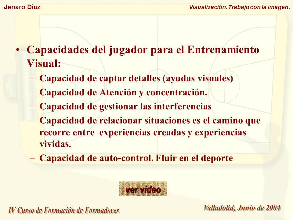 Jenaro Díaz Visualización. Trabajo con la imagen. Capacidades del jugador para el Entrenamiento Visual: –Capacidad de captar detalles (ayudas visuales