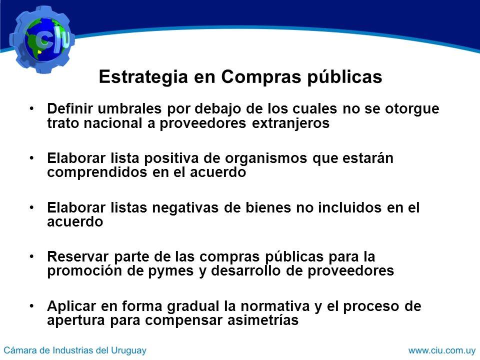 Estrategia en Compras públicas Definir umbrales por debajo de los cuales no se otorgue trato nacional a proveedores extranjeros Elaborar lista positiv