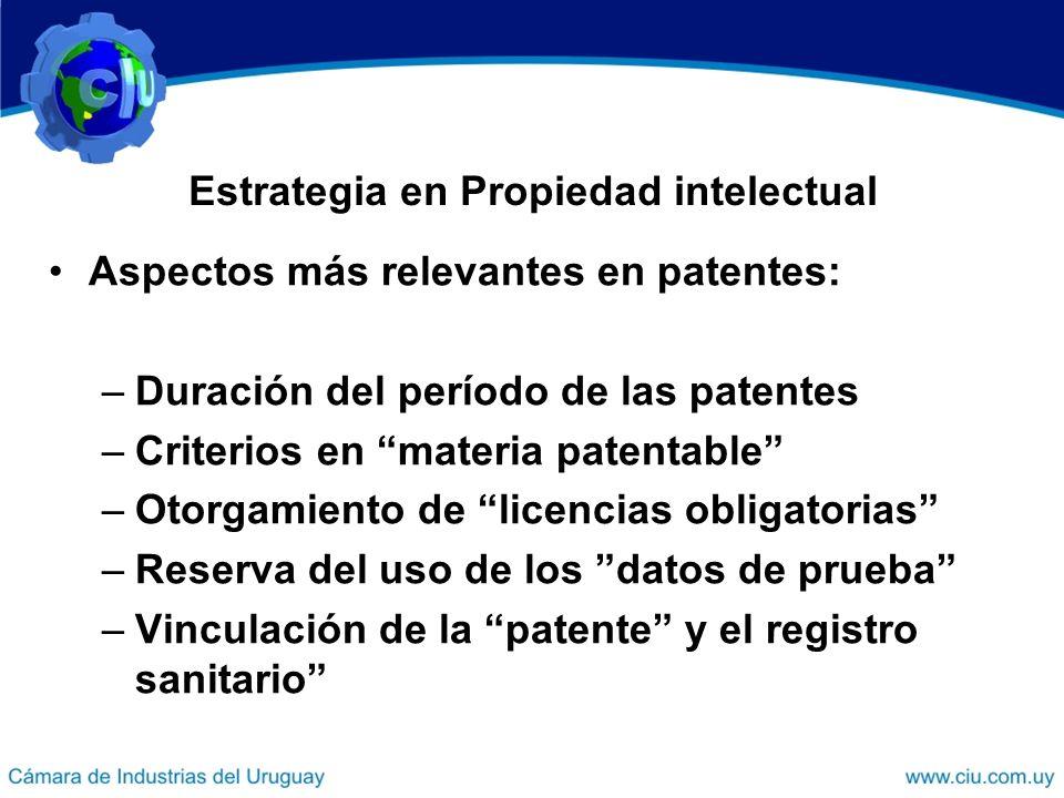 Estrategia en Propiedad intelectual Aspectos más relevantes en patentes: –Duración del período de las patentes –Criterios en materia patentable –Otorg