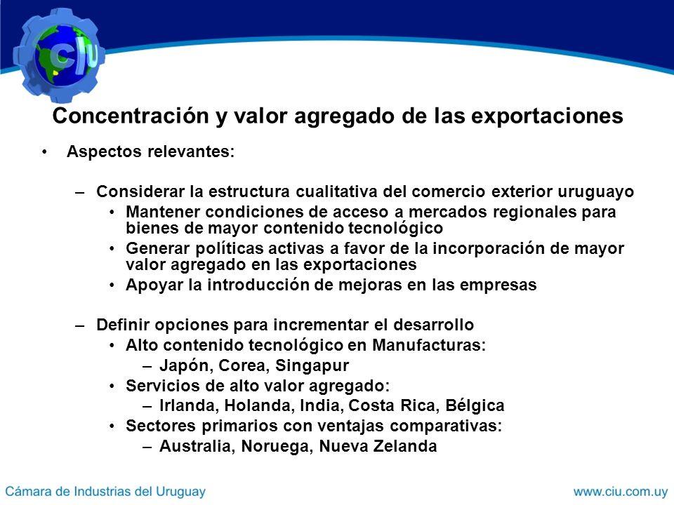 Concentración y valor agregado de las exportaciones Aspectos relevantes: –Considerar la estructura cualitativa del comercio exterior uruguayo Mantener