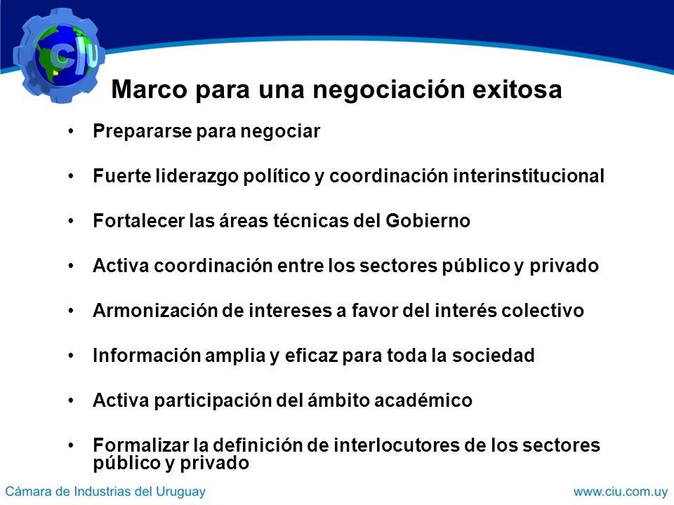 Marco para una negociación exitosa Prepararse para negociar Fuerte liderazgo político y coordinación interinstitucional Fortalecer las áreas técnicas