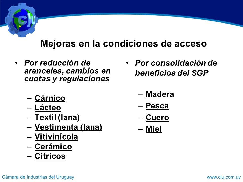 Mejoras en la condiciones de acceso Por reducción de aranceles, cambios en cuotas y regulaciones –Cárnico –Lácteo –Textil (lana) –Vestimenta (lana) –V