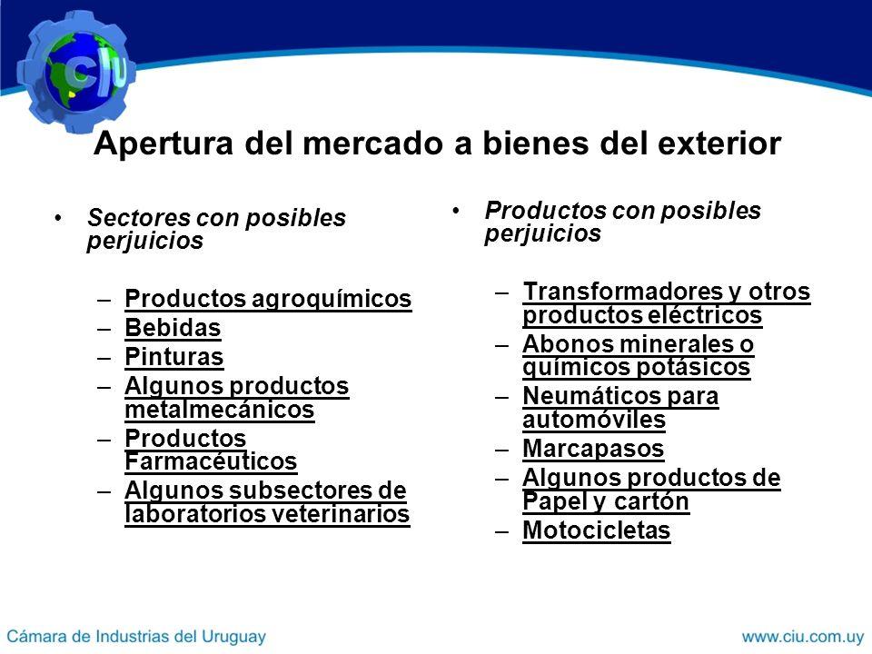 Apertura del mercado a bienes del exterior Sectores con posibles perjuicios –Productos agroquímicos –Bebidas –Pinturas –Algunos productos metalmecánic