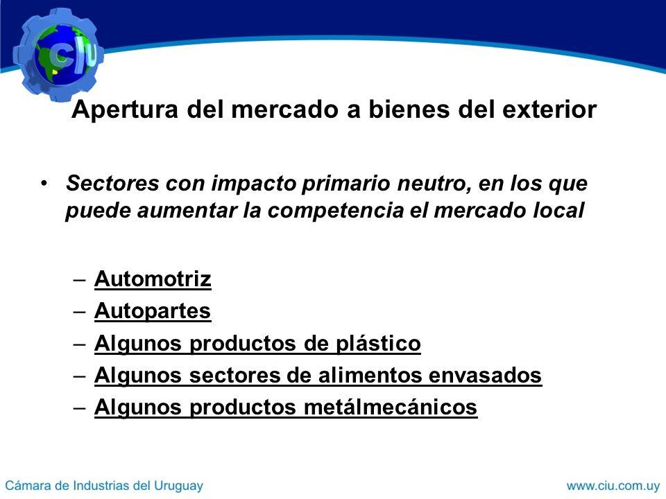 Sectores con impacto primario neutro, en los que puede aumentar la competencia el mercado local –Automotriz –Autopartes –Algunos productos de plástico