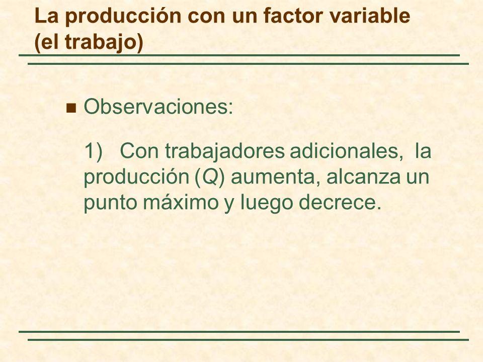 Observaciones: 1) Con trabajadores adicionales, la producción (Q) aumenta, alcanza un punto máximo y luego decrece. La producción con un factor variab