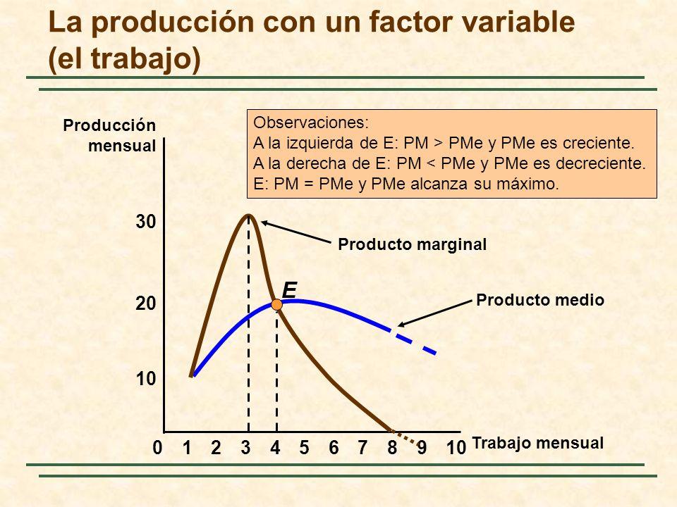 Producto medio 8 10 20 02345679101 30 E Producto marginal Observaciones: A la izquierda de E: PM > PMe y PMe es creciente. A la derecha de E: PM < PMe