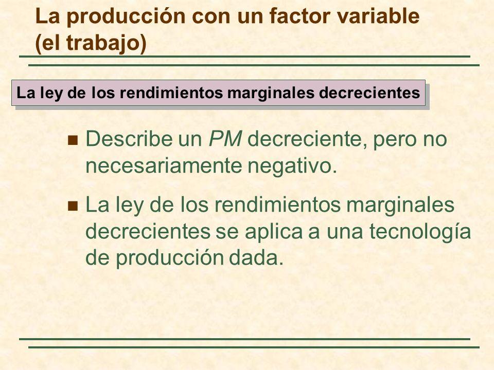 Describe un PM decreciente, pero no necesariamente negativo. La ley de los rendimientos marginales decrecientes se aplica a una tecnología de producci