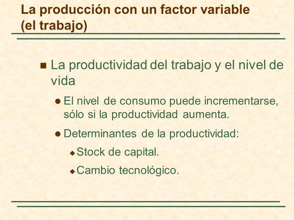 La productividad del trabajo y el nivel de vida El nivel de consumo puede incrementarse, sólo si la productividad aumenta. Determinantes de la product