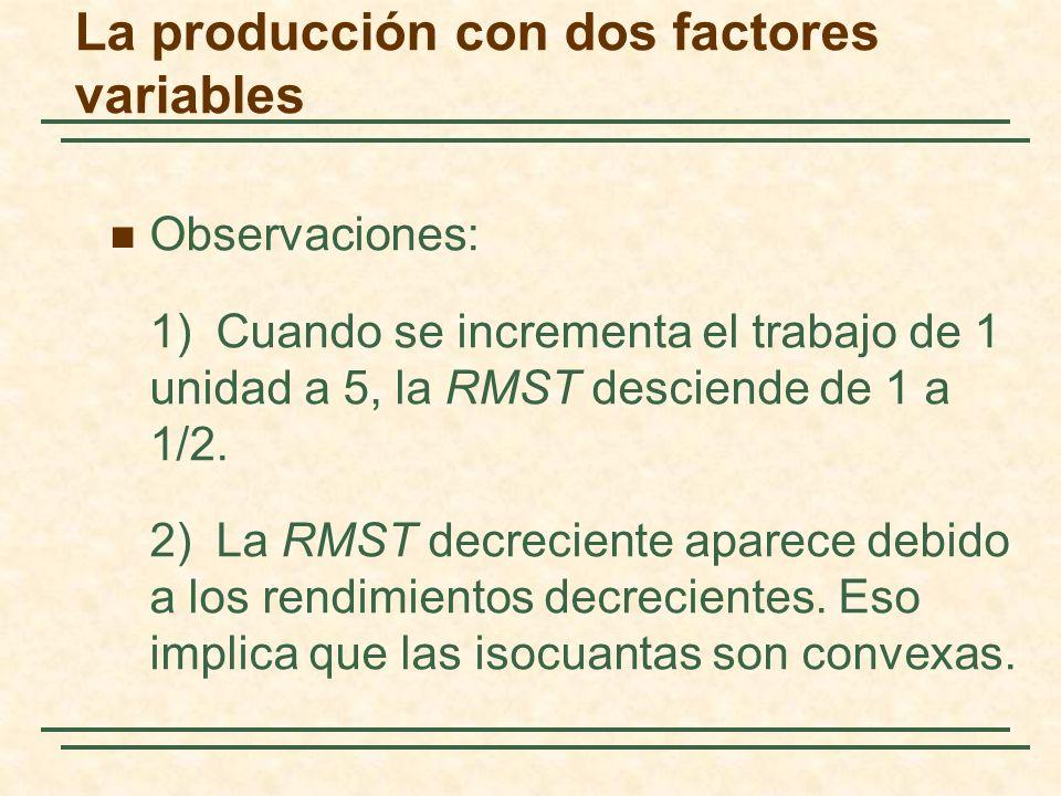Observaciones: 1)Cuando se incrementa el trabajo de 1 unidad a 5, la RMST desciende de 1 a 1/2. 2) La RMST decreciente aparece debido a los rendimient